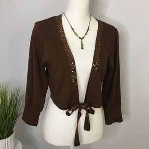 Vintage 80s Bolo Sweater Gypsy Sequin Tie Front L
